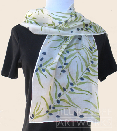 Olive Branches - hand painted scarf by Jill Rosoff